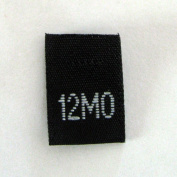 Size 12 mo (Twelve Month) Black Woven Clothing Size Tag