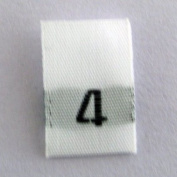 Size Four (4) Woven Clothing Size Labels