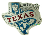 Texas State Map Blue Red Made in USA Pure Pewter Belt Buckle