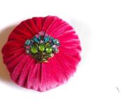XL Hot Pink Velvet Emery Pincushions - Keep your Needles Clean & Sharp
