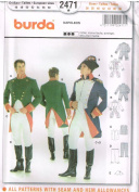 Burda 2471 Mens Pattern Napoleon French Soldier Uniform Colonial Costume Size 36 - 48