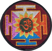 Kalachakra / Om Mantra Embroidered Patch Naga Land Tibet Sacred Stones Amulet