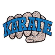 Karate Fist Patch - Blue - 10cm Dia. - 10 Pack