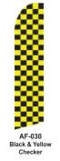 HPP 11-1/2' X 2-1/2' Brand New Advertising Tall Flag- Black & Yellow Checker