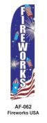 HPP 11-1/2' X 2-1/2' Brand New Advertising Tall Flag- Fire Works USA