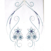 Rhinestone Iron on Transfer Hot Fix Motif Crystal Fashion Design Love Flowers Blue 3 Sheets 9.4*48cm