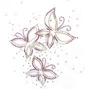 Rhinestone Transfer Hot Fix Motif Fashion Design Jewellery Butterfly Dance Deco 3 Sheets 7.4*25cm