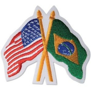 USA / Brazil Crossed Flags Patch - 7.6cm - 1.3cm x 7.6cm - 1.3cm - 10 Pack