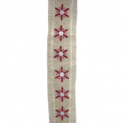 Kurt Adler Jute Snowflake Burlap Ribbon with Fringes, 5-Yard