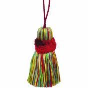 39cm Pillow Tassel with a 27cm Cord, Yellow/Red and Green