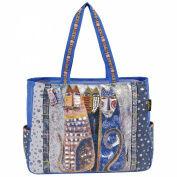 "Shoulder Tote Zipper Top 50cm x 17cm X15""-Autumn Felines"