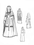Women of Mediaeval Romanesque Period Years 1060 to 1150 Pattern