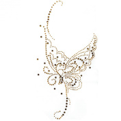Rhinestone Transfer Hot Fix Motif Fashion Design Gold Butterfly Tattoos Deco 3 Sheets 5.5*28cm