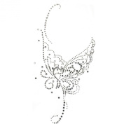 Rhinestone Transfer Hot Fix Motif Fashion Design Silver Butterfly Tattoos Deco 3 Sheets 5.5*28cm