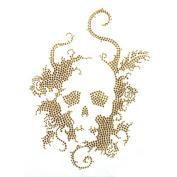 Rhinestone Iron on Transfer Hot Fix Motif Crystal Fashion Design Skull Gold 3 Sheets 7.4*26cm