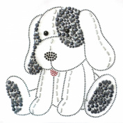 Rhinestone Iron on Transfer Hot Fix Motif Fashion Design Cute Puppy Love Grey 3 Sheets 7*18cm
