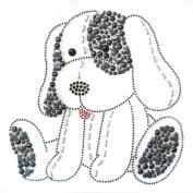 Rhinestone Iron on Transfer Hot Fix Motif Fashion Design Cute Puppy Love Grey 3 Sheets 7*18cm