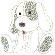 Rhinestone Iron on Transfer Hot Fix Motif Fashion Design Cute Puppy Love Ivory 3 Sheets 7*18cm