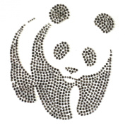 Rhinestone Iron on Transfer Hot Fix Motif Panda Bear Deco Fashion Design 3 Sheets 6.8* 19cm