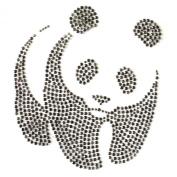 Rhinestone Iron on Transfer Hot Fix Motif Panda Bear Deco Fashion Design 3 Sheets 6.8* 19cm