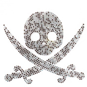 Rhinestone Transfer Hot Fix Motif Fashion Design Jewellery Cushion Skull M Deco 3 Sheets 6.8* 15cm