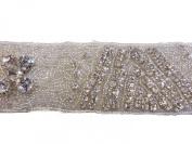 RHS-TRM-1291-SILVER. CRYSTAL RHINESTONE TRIM - 5.1cm WIDE - REPEAT LENGTH 15cm
