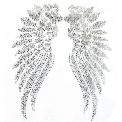 Rhinestone Iron on Transfer Hot Fix Motif Angel Wings 2 Deco Fashion Design 3 Sheets 9.8*30cm