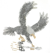 Rhinestone Iron on Transfer Hot Fix Motif Crystal Fashion Design Eagle No720 3 Sheets 8.8*24cm