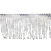 Chainette Fringe 10-Yard Polyester Fringe Rolls for Arts and Crafts, 5.1cm Long, White