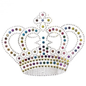 Rhinestone Transfer Hot Fix Motif Fashion Design Jewellery Crown Big Colour Mix 3 Sheets 8.2*16cm