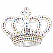 Rhinestone Transfer Hot Fix Motif Fashion Design Jewellery Crown Big Colour Mix 3 Sheets 8.2*16cm