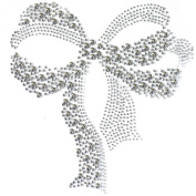 Rhinestone Iron on Transfer Hot Fix Motif Crystal Fashion Design Love Ribbon 3 Sheets 7.6* 16cm