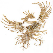 Rhinestone Iron on Transfer Hot Fix Motif Gold Peacock Design 3 Sheets 7*21cm