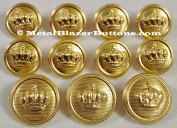WATERBURY Premium POLISHED GOLD Toned METAL BLAZER BUTTON SET ~KING'S GOLDEN CROWN~