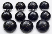 Premium New ~BLACK GENUINE LEATHER~ 11pc Shank Style Sport Coat BLAZER BUTTON SET