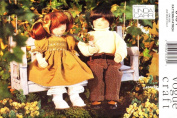 VOGUE 9464 33cm BOY & GIRL DOLLS SEWING PATTERN WITH FACE TRANSFER & CLOTHES