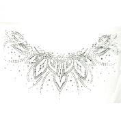 Rhinestone Iron on Transfer Hot Fix Motif Crystal Fashion Design Flowers Line V 3 Sheets 12.9*19cm