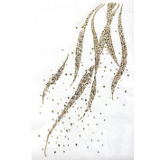 Rhinestone Iron on Transfer Hot Fix Motif Gold Wave Deco Fashion Design 3 Sheets 8.6*35cm