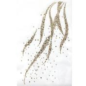Rhinestone Iron on Transfer Hot Fix Motif Gold Wave Deco Fashion Design 3 Sheets 8.6*35cm