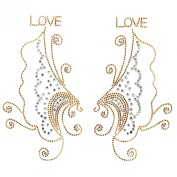 Rhinestone Transfer Hot Fix T-shirt Clothing Crafts Cushion Butterfly Wings Love Design 3 Sheets 9.4* 20cm