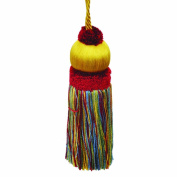 50cm Key Tassel with a 10cm Cord, Yellow/Red and Green