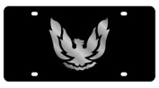 Pontiac Firebird Retro Licence Plate on Black Steel