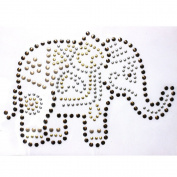 2013 Rhinestone Iron on Transfer Hot Fix Motif Crystal Fashion Design Elephant 3 Sheets 7*26cm
