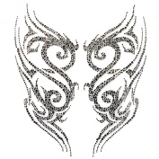 Rhinestone Iron on Transfer Hot Fix Motif Crystal Dk Grey Tattoo Designs Deco Fashion 3 Sheets 9.8* 28cm