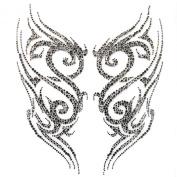 Rhinestone Iron on Transfer Hot Fix Motif Crystal Dk Grey Tattoo Designs Deco Fashion 3 Sheets 9.8* 28cm