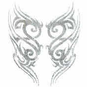 Rhinestone Iron on Transfer Hot Fix Motif Crystal Tattoo Designs Deco Fashion 3 Sheets 9.8* 28cm