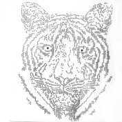 Rhinestone Iron Transfer Hot Fix Motif Fashion Design Jewellery Tiger Decoration 3 Sheets 7.4* 24cm