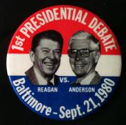 REAGAN Vs. ANDERSON Jugate Political Litho Pin Back 1st PRESIDENTIAL DEBATE BALTIMORE 1980 Button