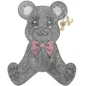 Rhinestone Iron on Transfer Hot Fix Motif Fashion Cutie Bear Design 3 Sheets 7.6*24cm