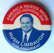 RUSH LIMBAUGH FOR PRESIDENT Litho Pin Back 1990's Button